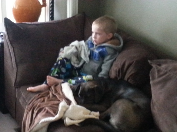 Sick kid and his puppy
